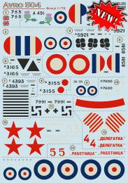 PRINT DECALS 1/72 AVRO 504 1915-1918 (wet decals)