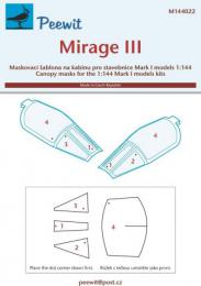 PEEWIT 1/144 Canopy mask Mirage III (MARK 1 MODEL)
