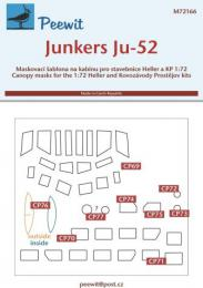 PEEWIT 1/72 Canopy mask Junkers Ju-52 for KP