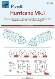 PEEWIT 1/72 Canopy mask Hurricane Mk.I for ARMA HOBBY