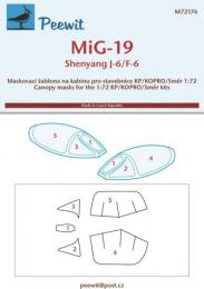 PEEWIT 1/72 Canopy mask MiG-19/Shenyang J-6/F-6 for KP/SMER