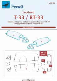 PEEWIT 1/72 Canopy mask Lockheed T-33/RT-33 for SWORD