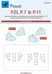 PEEWIT 1/72 Canopy mask PZL P.7 & P.11 for ARMA HOBBY