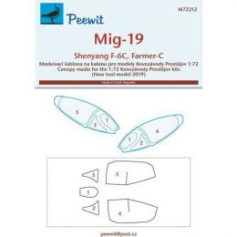 PEEWIT 1/72 Canopy mask MiG-19/Shenyang F-6C for KP