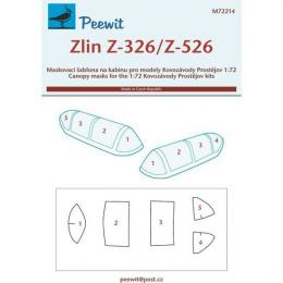 PEEWIT 1/72 Canopy mask Zlin Z-326/Z-526 for KP