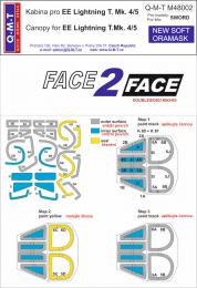 Q-M-T 1/48 Face 2 Face Canopy Mask  EE Lightning T.Mk. 4/5 for SWD