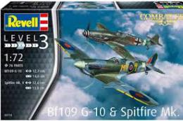 REVELL 1/72 BF109G-10 + Spitfire MK.V Model Set