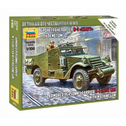 ZVEZDA 1/100 Armored Personnel Carrier M-3 Scout Car with Machine Gun