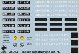 TORO Decals 1/35 35D63 Polish Civilian Vehicles Registration Numbers 1976-2000