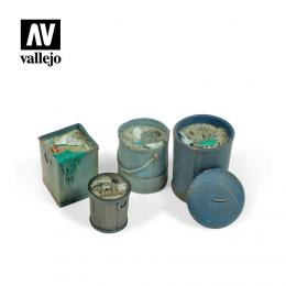 VALLEJO SC213 Diorama Accessories Assorted Garbage Bins #