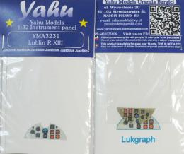 YAHU 1/32 Instrument panel for Lublin R.XIII for Lukograph