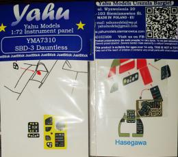 YAHU 1/72 SBD-3 Dauntless Instrument panel for HOBBY2000/HAS