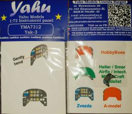 YAHU 1/72 Yak-3 Instrument panel for HAS/ZVE