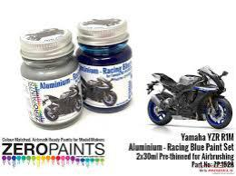 ZERO PAINTS  1528 YZR R1M - Aluminium and Racing Bl