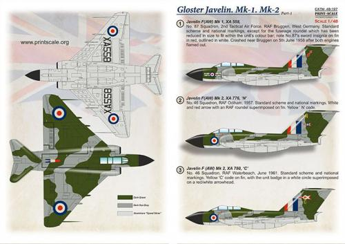 PRINT SCALE 1/48 Gloster Javelin part 1 (wet decals)