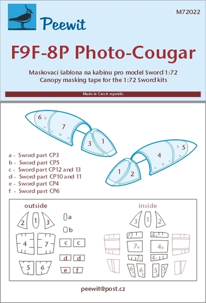 PEEWIT Mask 1/72 F9F-8P Cougar for SWO