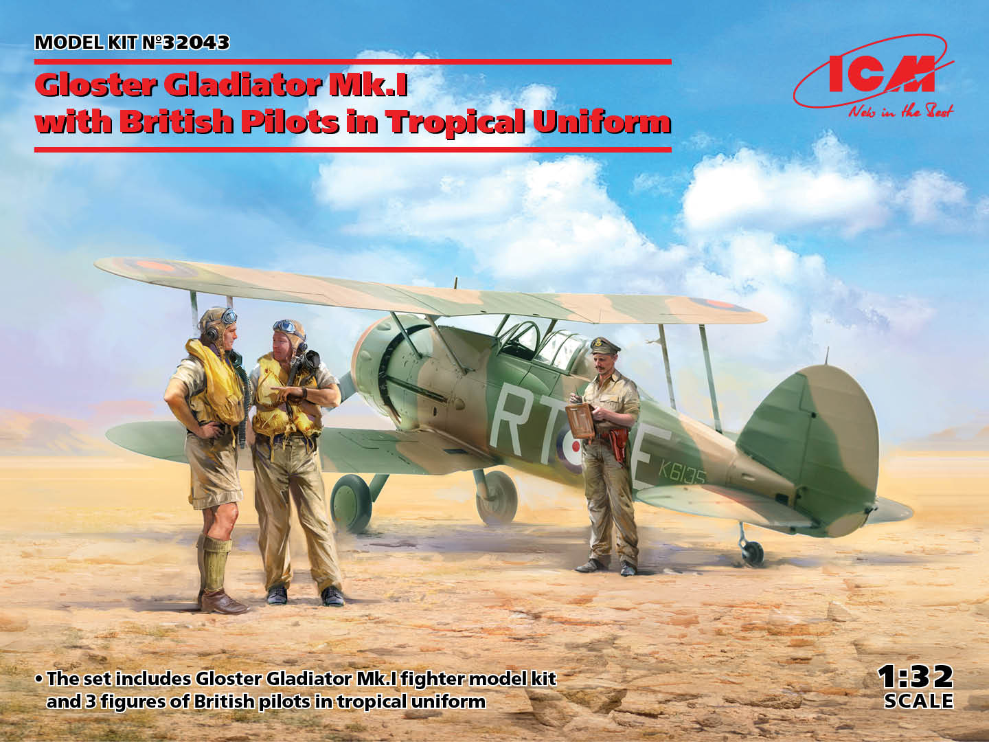 ICM 1/32 Gloster Gladiator Mk.I with British Pilots in Tropical Uniform - zvìtšit obrázek