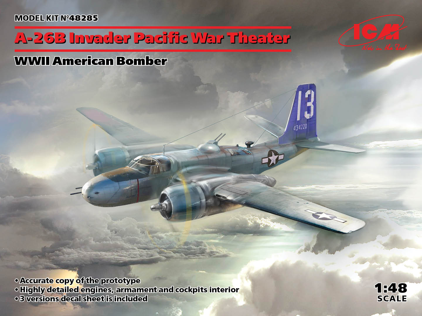 ICM 1/48 A-26B Invader Pacific War Theater, WWII American Bomber - zvìtšit obrázek