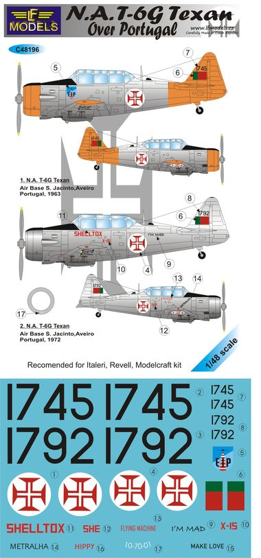 1/48 Decals N.A. T-6G Texan over Portugal for ITA, REV - zvìtšit obrázek
