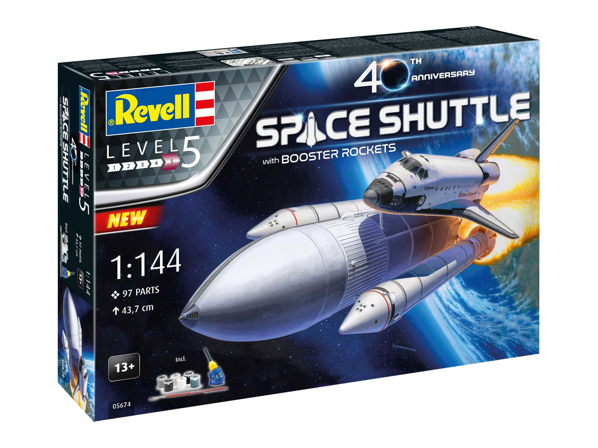 REVELL 1/144 40th Anniversary Space Shuttle with Booster Rockets GIFT Set - zvìtšit obrázek